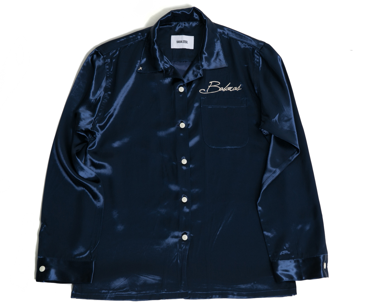 Navy Acetate Rayon Shirt
